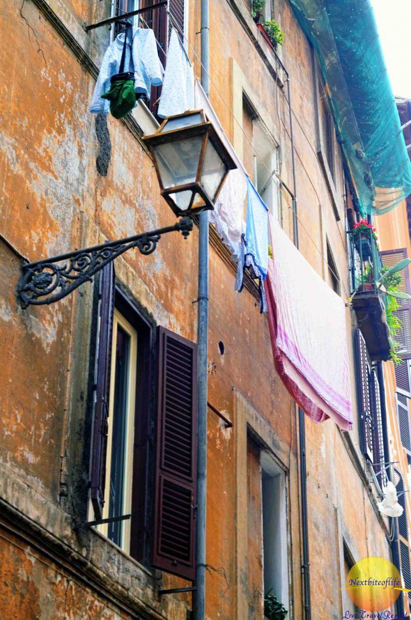 hanged washing on a Rome street