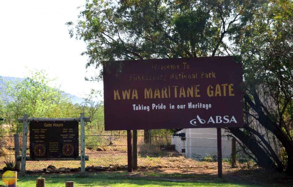 pilanesburg park entrance on our big 5 african safari