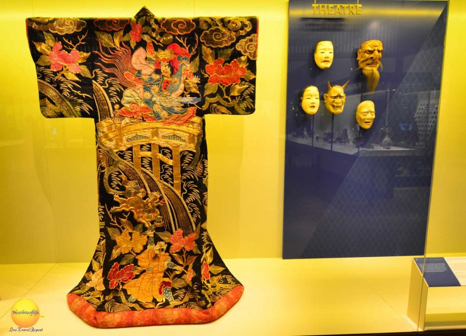 Chinese kimono and face masks on dispaly at museum