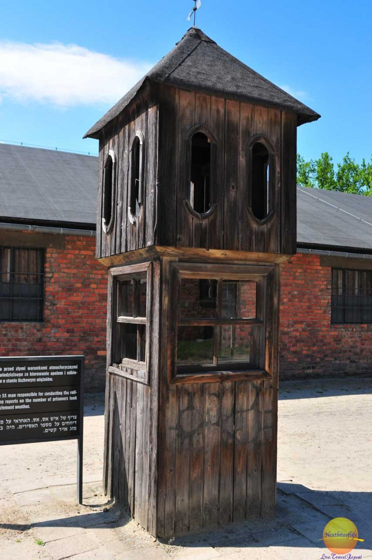 Auschwitz tower from which the guards could count the prisoners