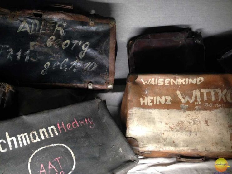 Luggage of camp prisoners at Auschwitz with visible names on them still