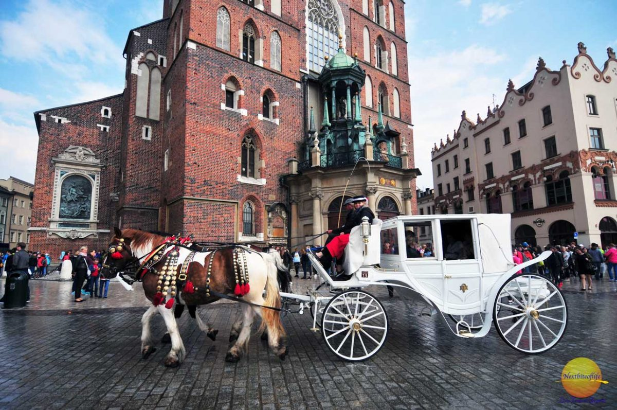 Main square Krakow with horse drawn carriage