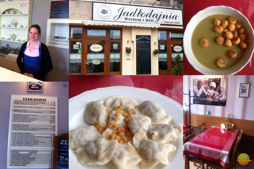 food collage Krakow main foods including pierogi