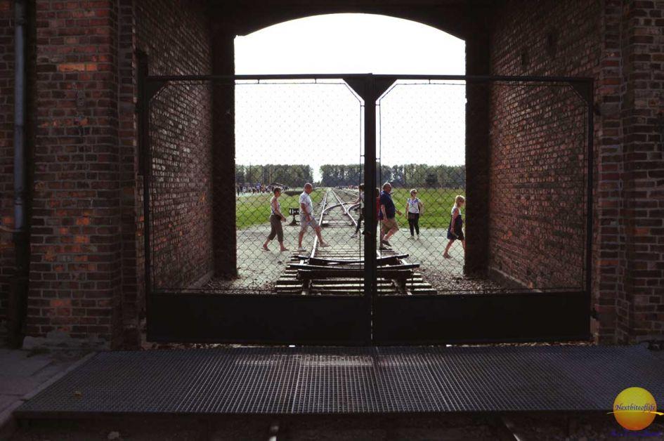 Birkenau train tracks leading with people walking