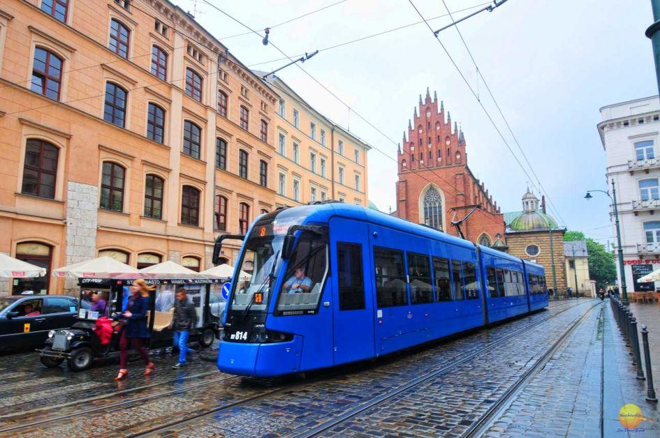 Krakow Poland Guide - blue metro tram that runs through the city
