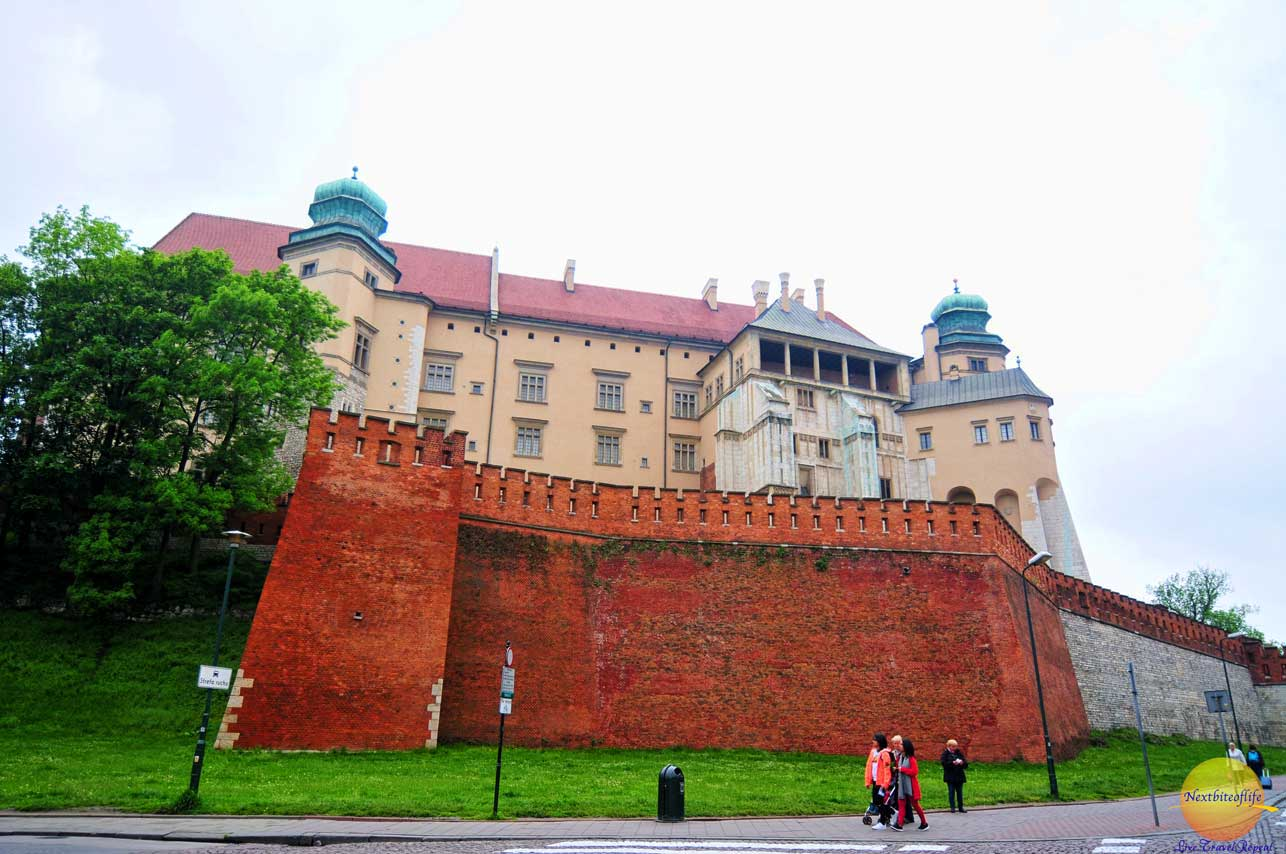 Wawel castle Krakow exterior with wall