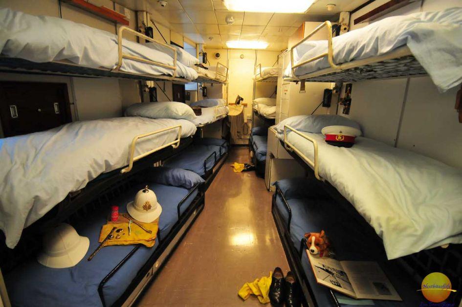 bunk beds along the walls on the royal yacht britannia in Edinburgh