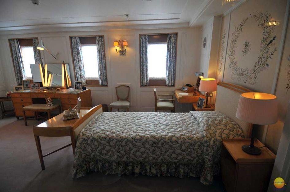 Queens bedroom on Royal Britannia