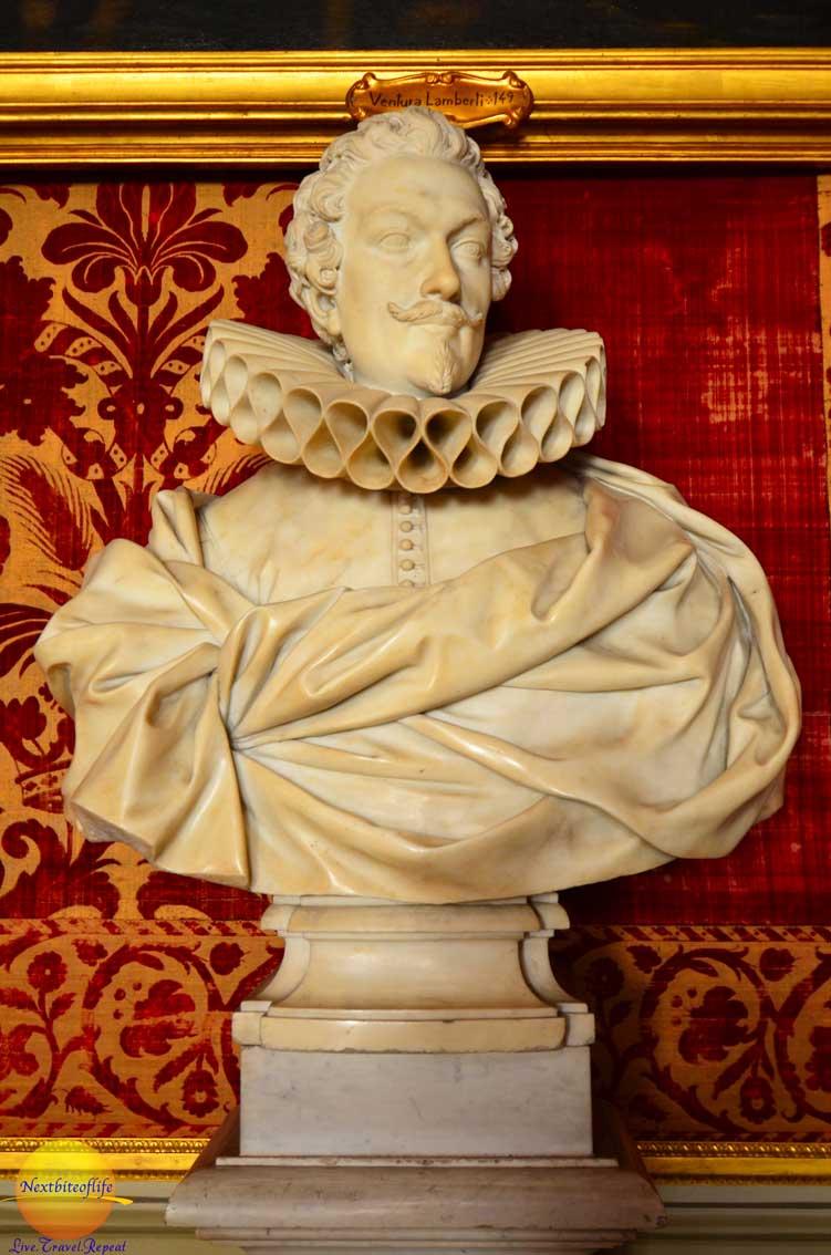 marble statue with ruffles palazzo dira pamphili