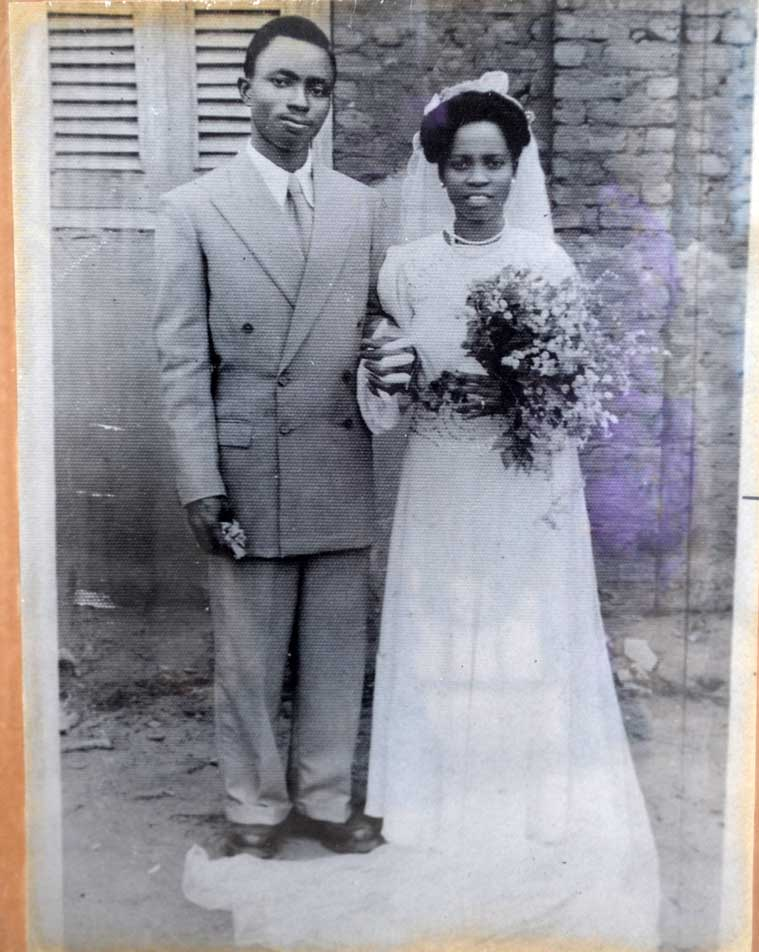 Nigerian couple wedding day black and white late 50's