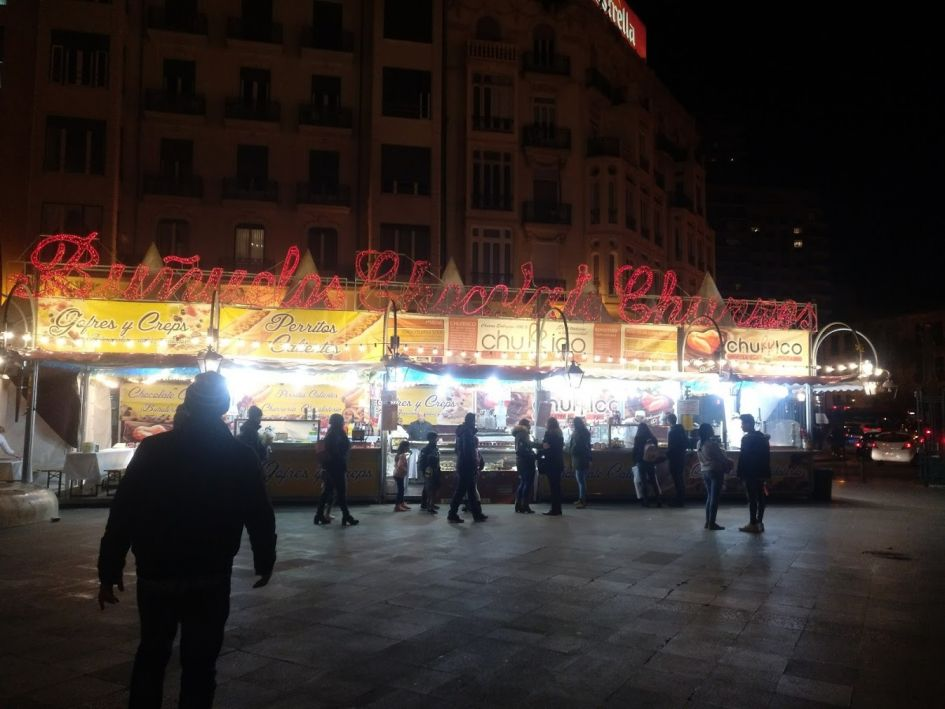 churros stand in Valencia Spain all decorated for xmas