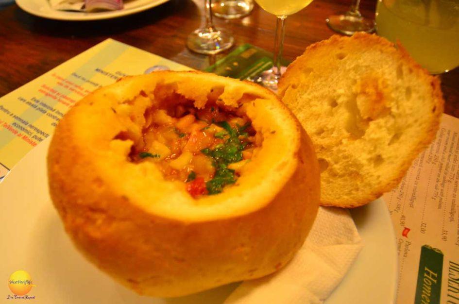 caru cu bere bean soup in bread bucharest