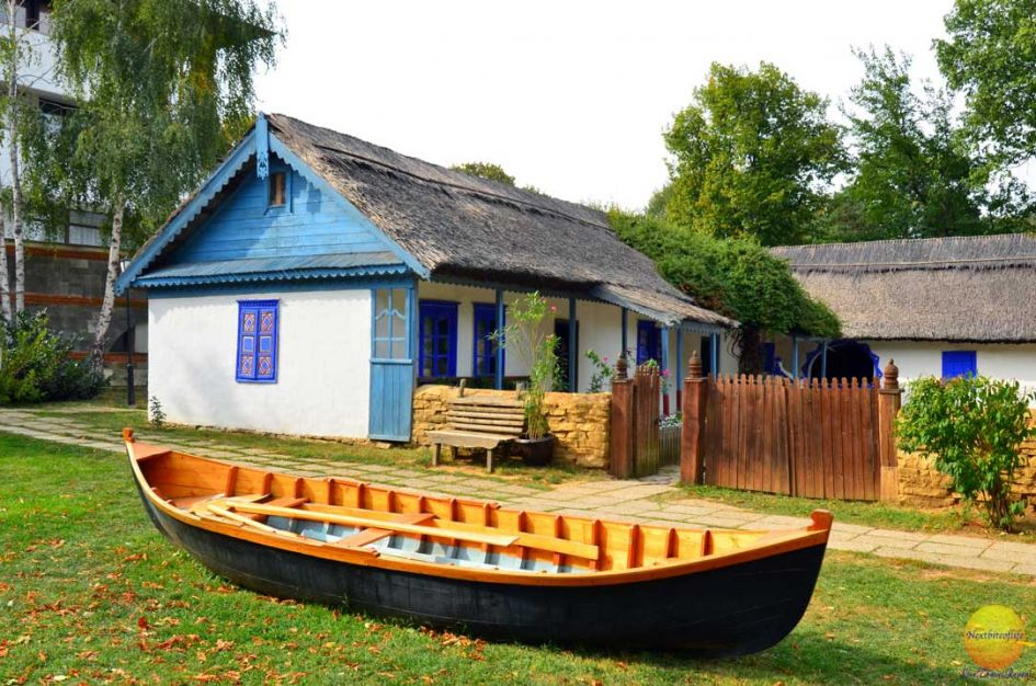 Dimitrie Gusti village house and canoe during our 4 days in Romania