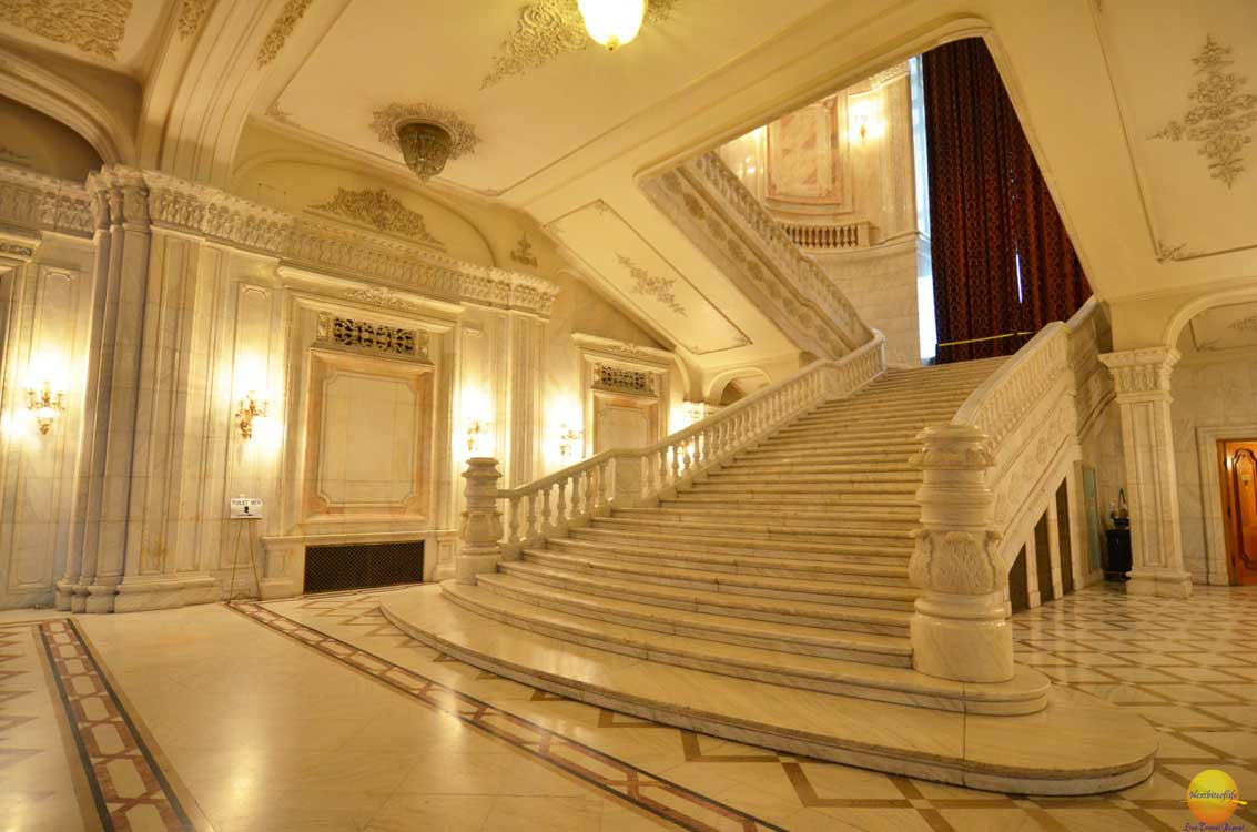 stairs house of parliament bucharest
