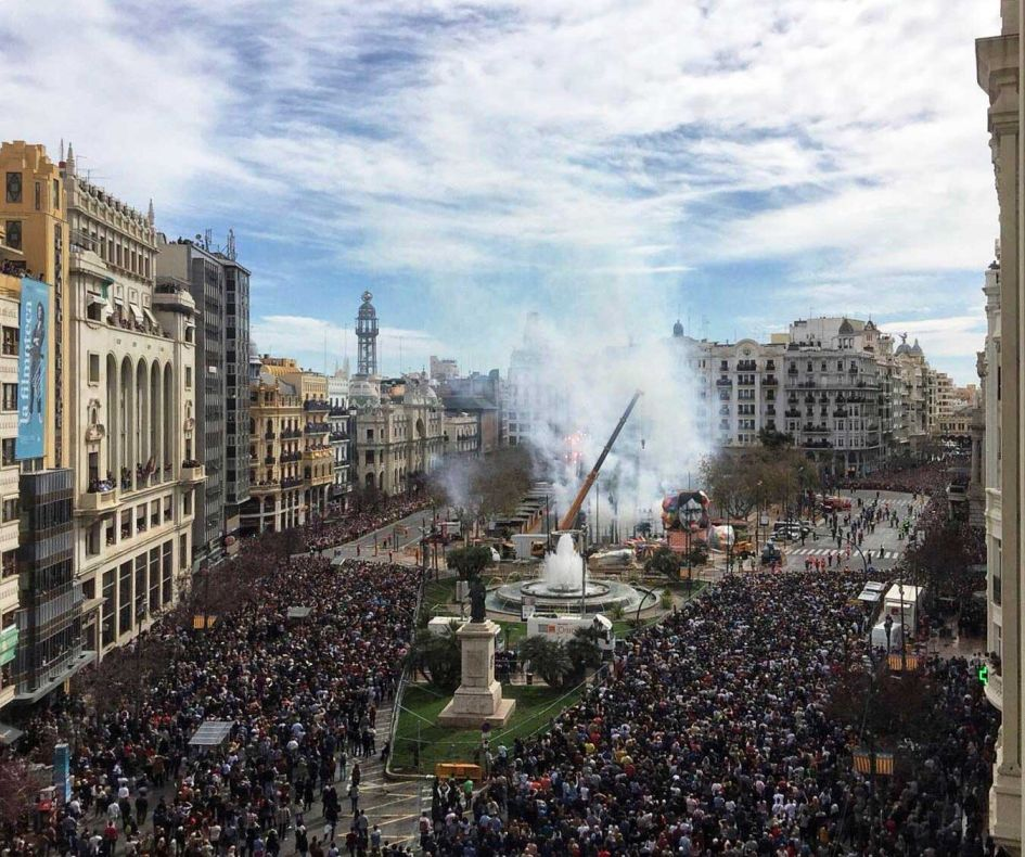 crowd at Fallas Valencia Spain