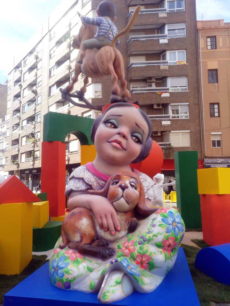 fallas ninot girl with dog