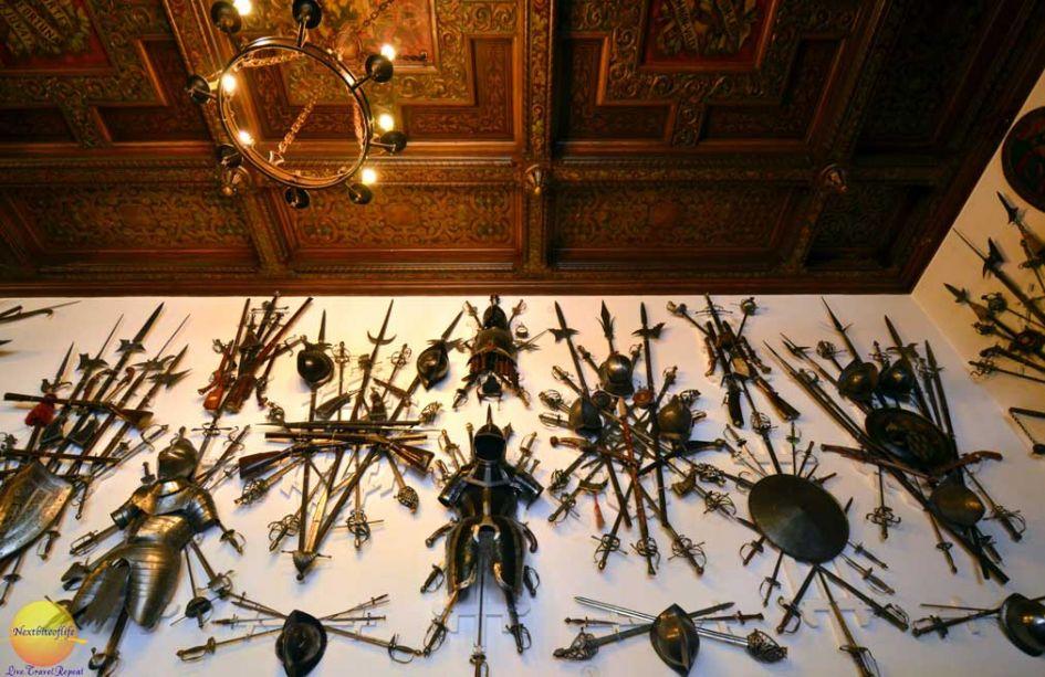 weapons room wall inside Peles Castle