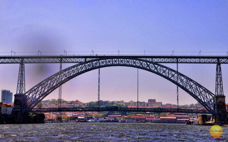 dom luis 1 bridge from a sailboat porto