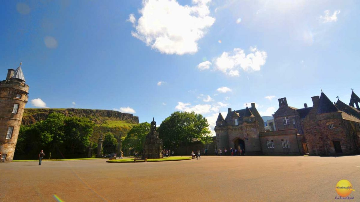holyrood park grounds with mountains showing