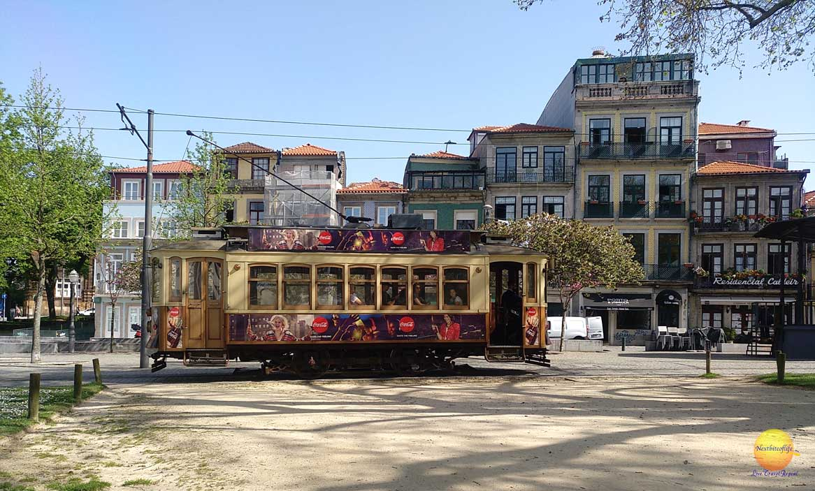 porto trolley tram through park