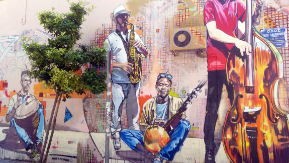 Good things about Athens_ Street art like this musicians playing instruments wall mural.