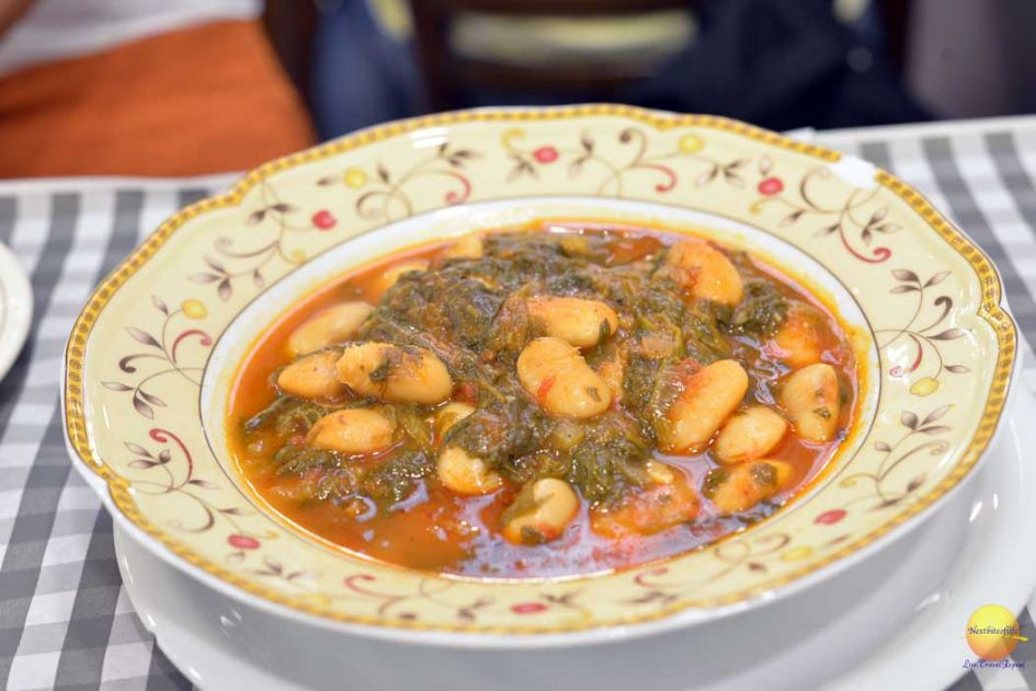white beans and spinach greek plate
