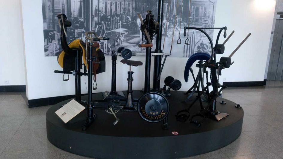 old gym equipment at narodni technicke muzeum