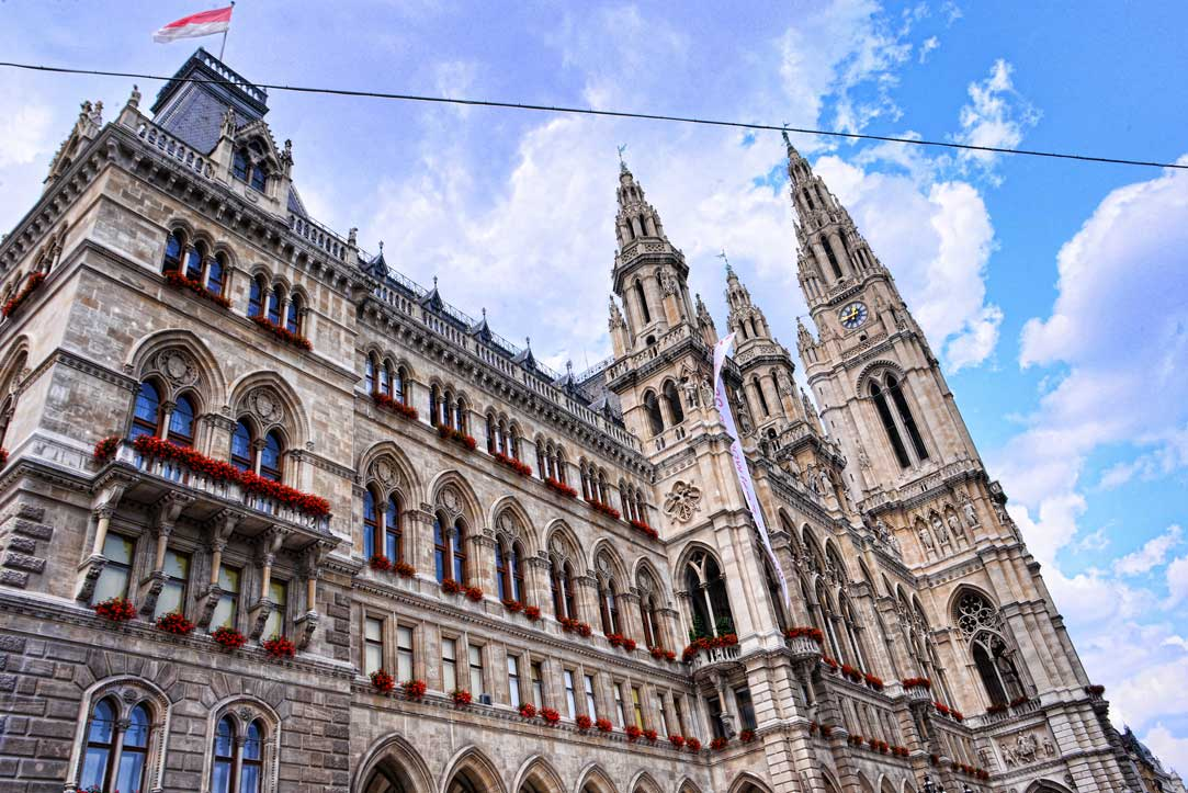 back view of city hall vienna