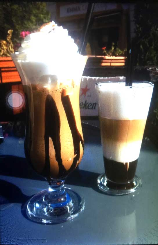iced coffee drinks in glasses in Brasov Romania