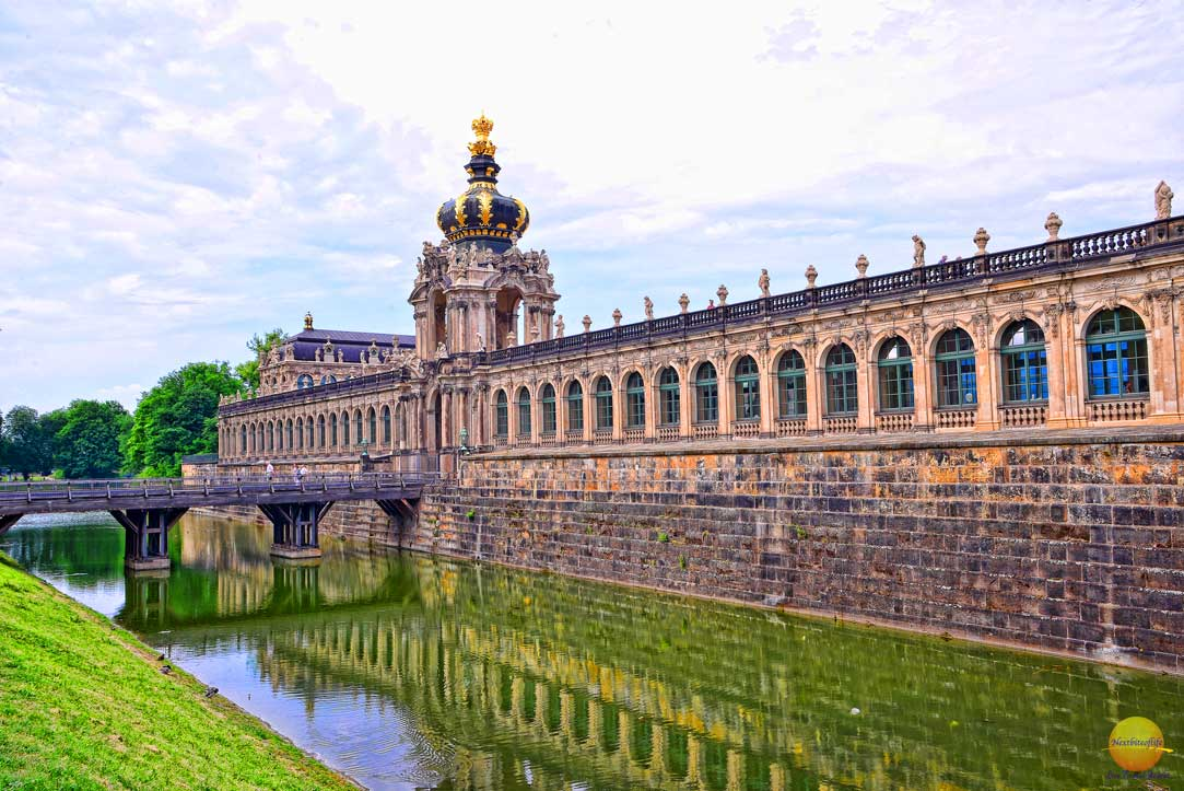 zwinger palace dresden water side view