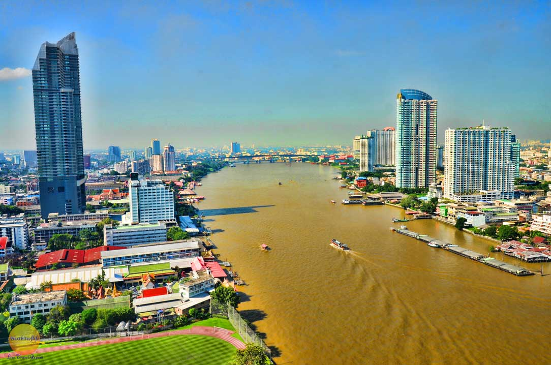 Bangkok river view from Chatrium Hotel Riverside