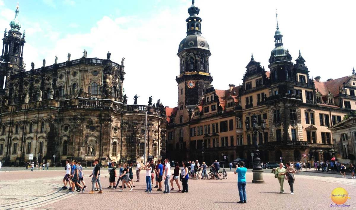 Dresden center Germany with tourists