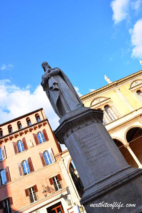 Dante statue in piazza dei Signori Verona Italy