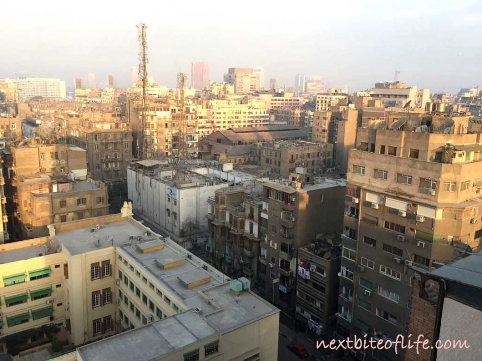 24 hours in Cairo - city skyline view from hotel room