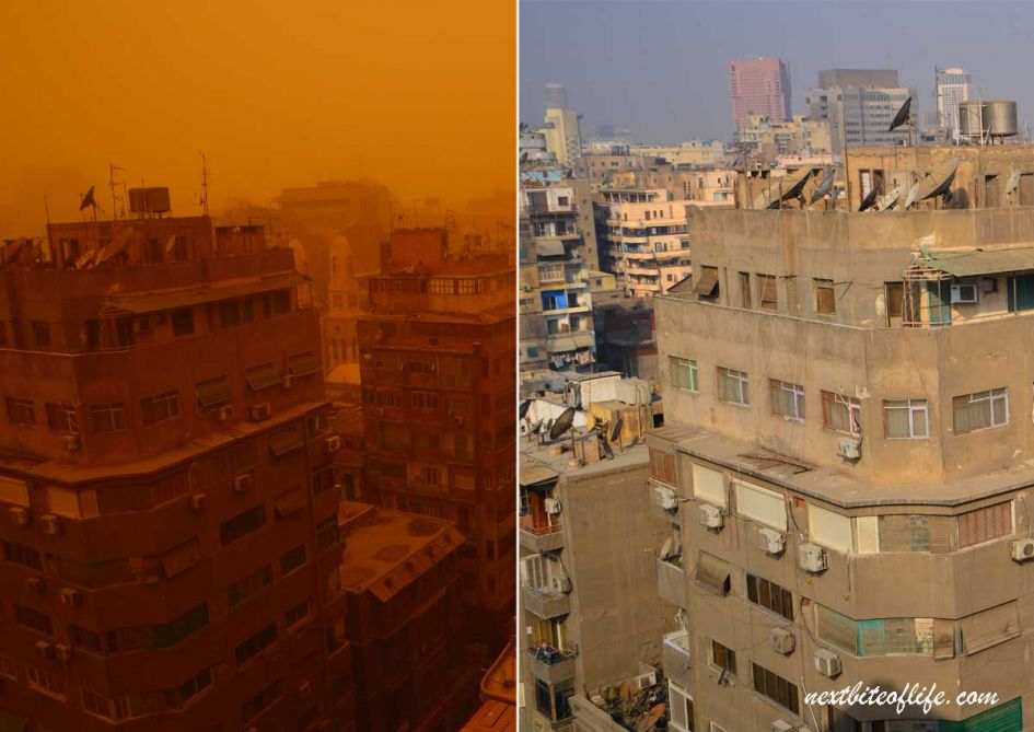 hotel view of Cairo before and after sand storm.