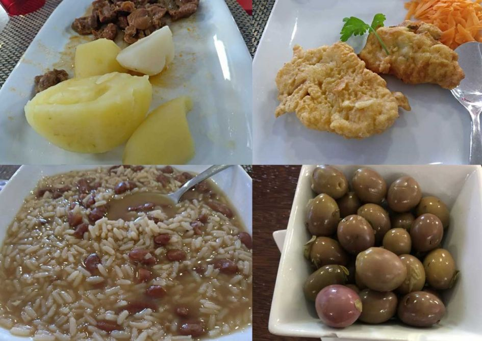 food served in Douro Valley wine tour of rice, beans and meat, olives