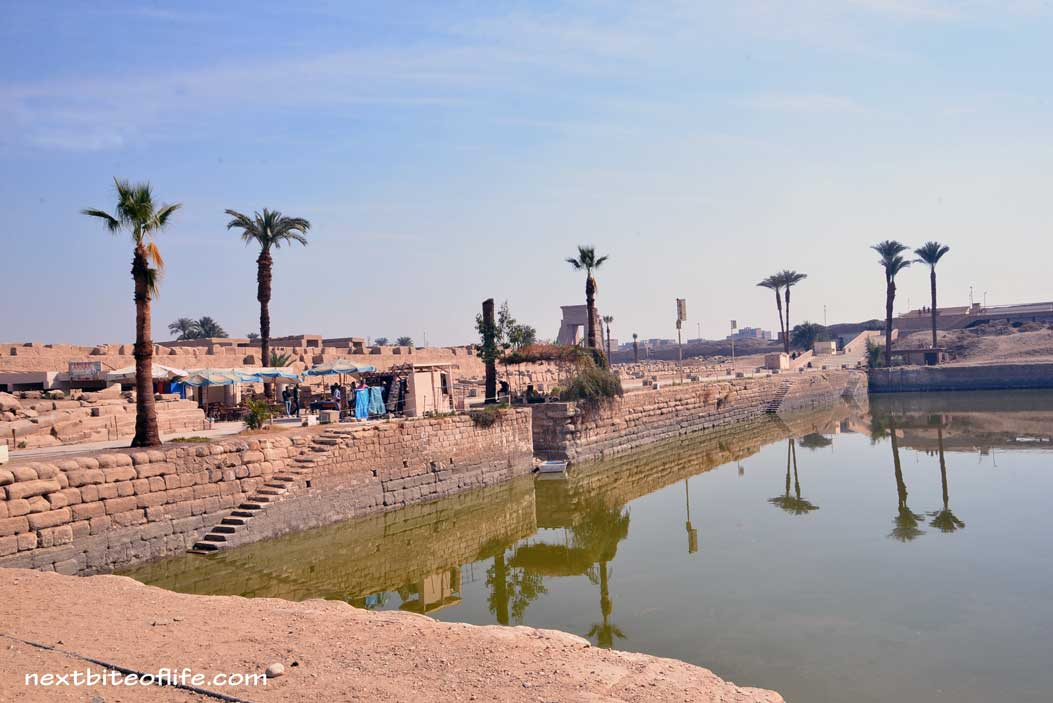 river of water at karnak temple Luxor