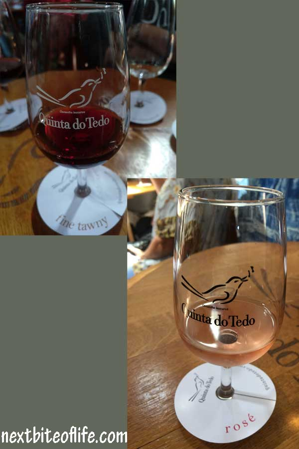 LBV and Rose port wine in glasses in the Douro Valley