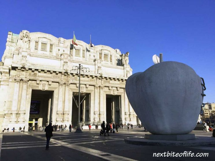 Best of Milan Italy, Milan central station entrance with big apple