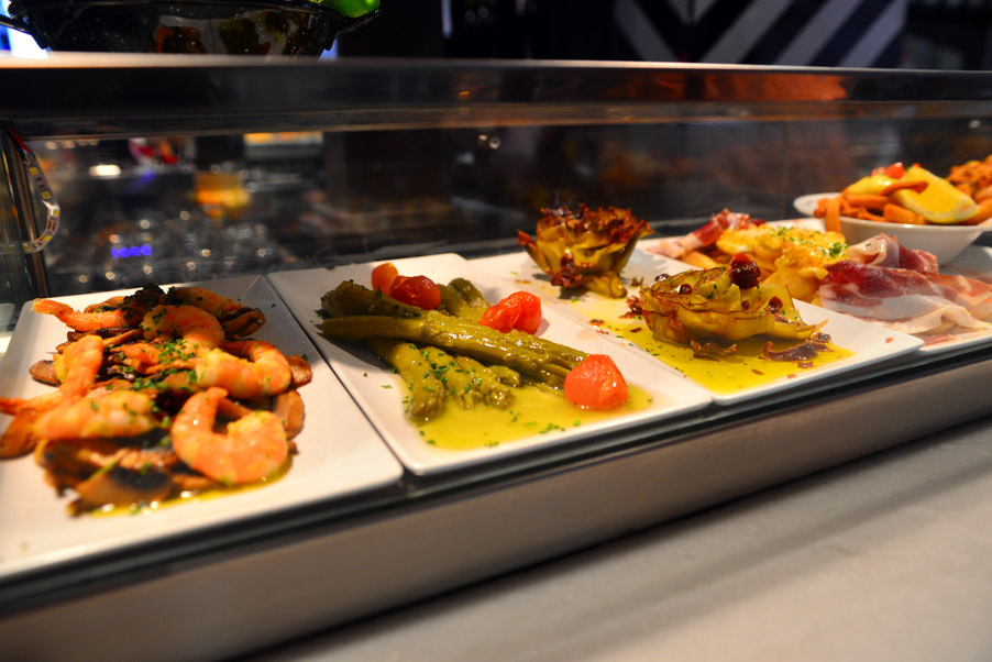 tapas stall in Madrid mercado San Miguel