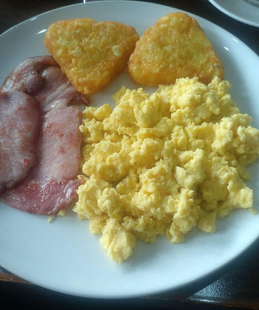 Typical breakfast in Edinburgh eggs, hash browns