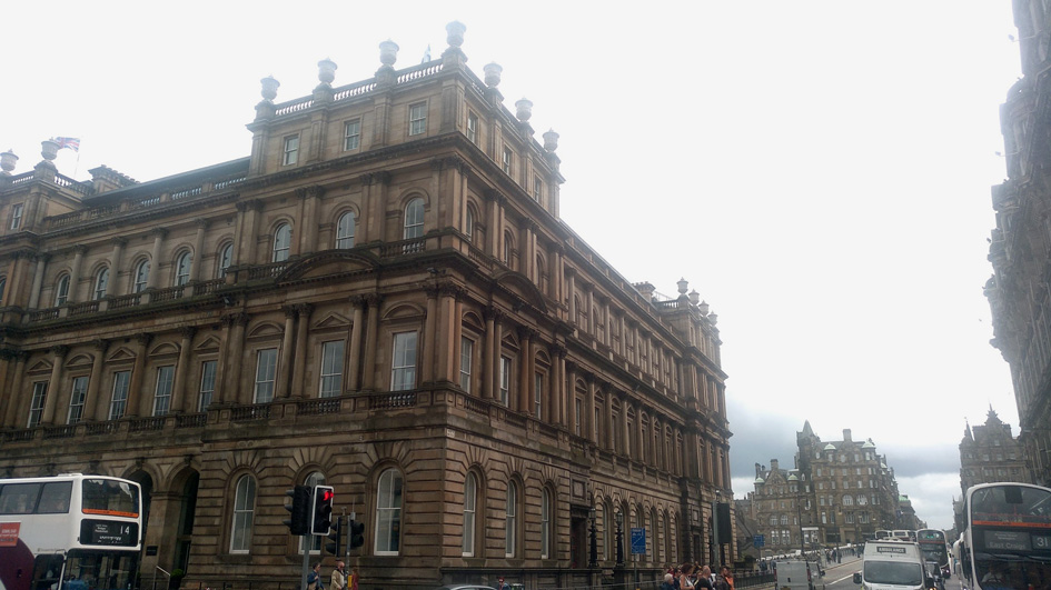 Side and front view of Balmoral hotel on Prince street Edinburgh weekend guide