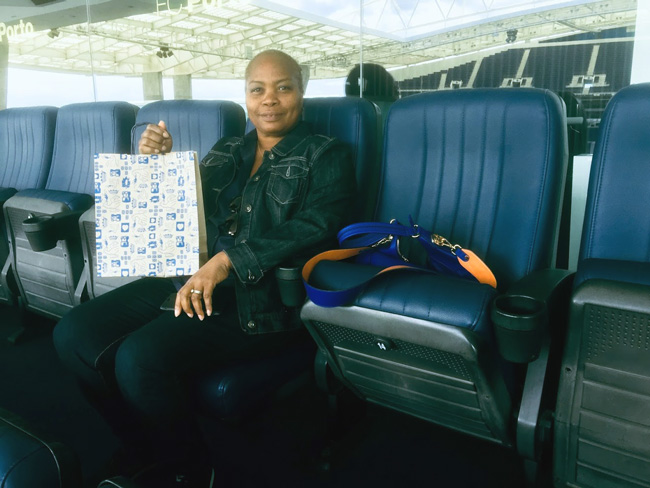 woman in FC Porto stadium seat