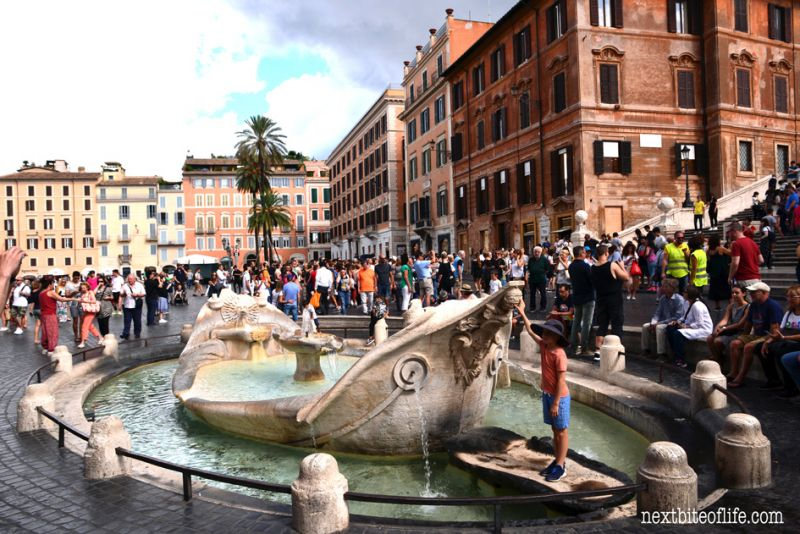 fountain below the Spanish steps Rome in the fall is fabulous