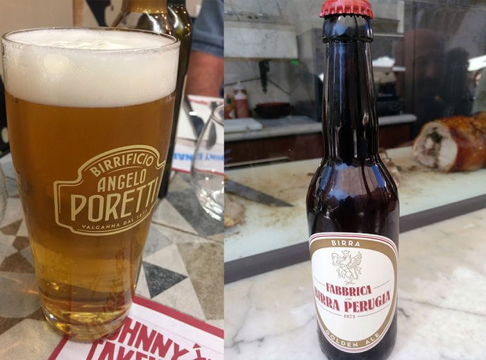 2 beer types one in mug and one in bottle perugia