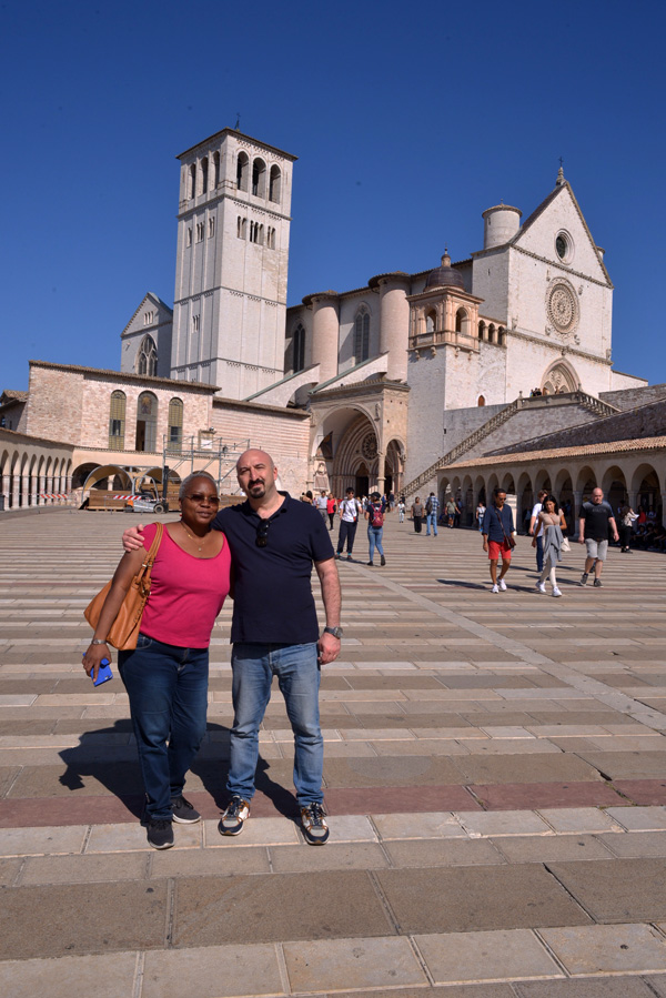 black and white couple in front of st francis of assisi church