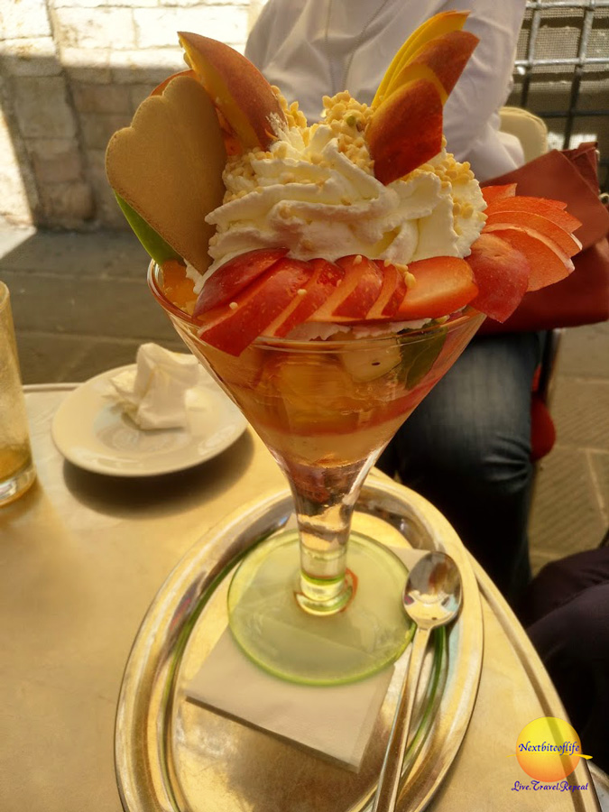 Yummy fruit dessert with strawberries,apples ice cream - 48 hours in Perugia guide