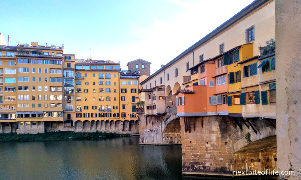 Florence view of colored houses and water by point vecchio