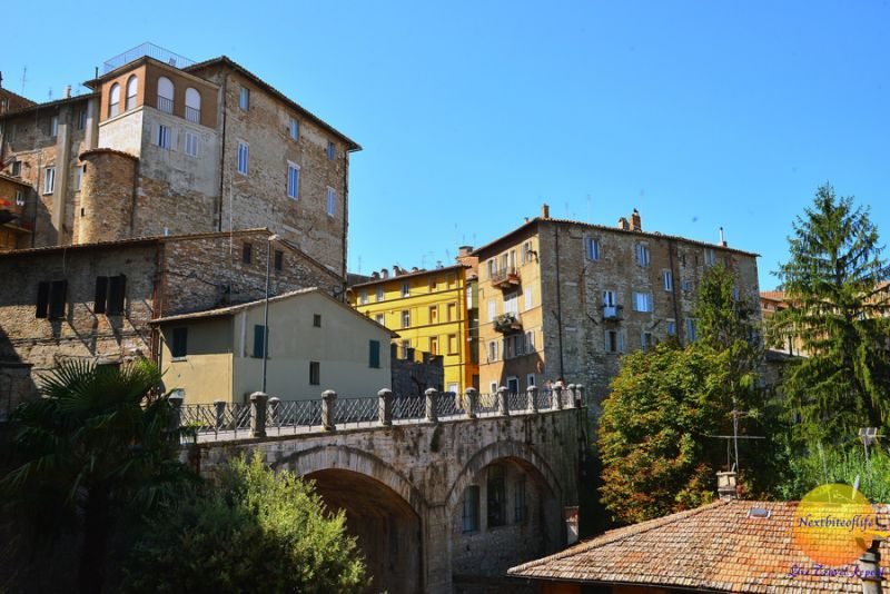 houses in Perugia and bridge in old town
