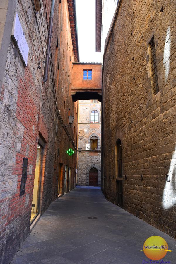 Pedestrian street in Siena Italy